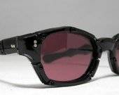Vintage Sunglasses. Pink/Rose Lens Bamboo Shades