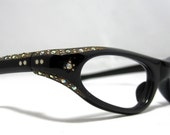 Vintage 60s Cat Eye Glasses. Black and Gold with Rhinestones