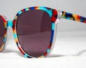 Vintage 80s Sunglasses. Colorful Wayfarer Style Sunglasses