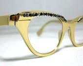 Vintage 50s Tura Eyeglass Frames. Gold with Rhinestones