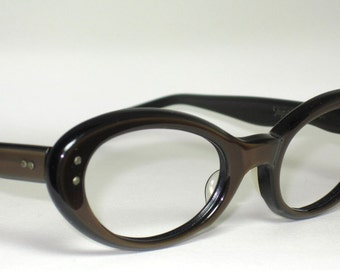 Vintage Eyeglasses Sunglasses. 50s Cat Eye Chocolate Brown. New Old Stock