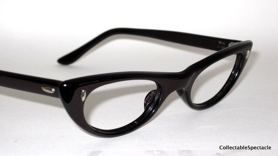 Vintage 50s Cat Eye Glasses. Plum color. New Old Stock