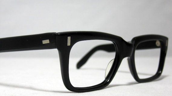 Vintage EyeGlasses. Mens Horn Rim Black Glasses. Clark Kent - Mad Men Style.