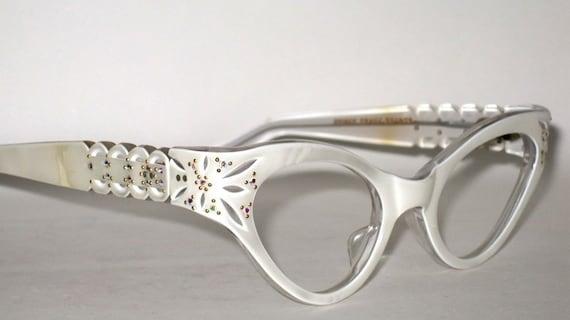 Vintage EyeGlasses Sunglasses. Cat Eye AB Rhinestones. New Old Stock