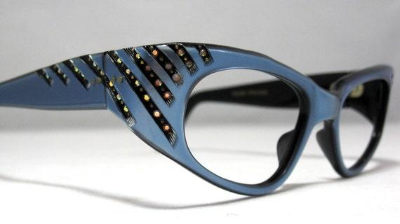 Vintage Cat Eye Glasses Frames. Blue with Rhinestones Cateye Glasses.