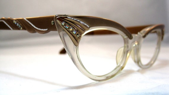 Vintage Cat Eye Glasses. Pointy Copper and Clear with Rhinestones.