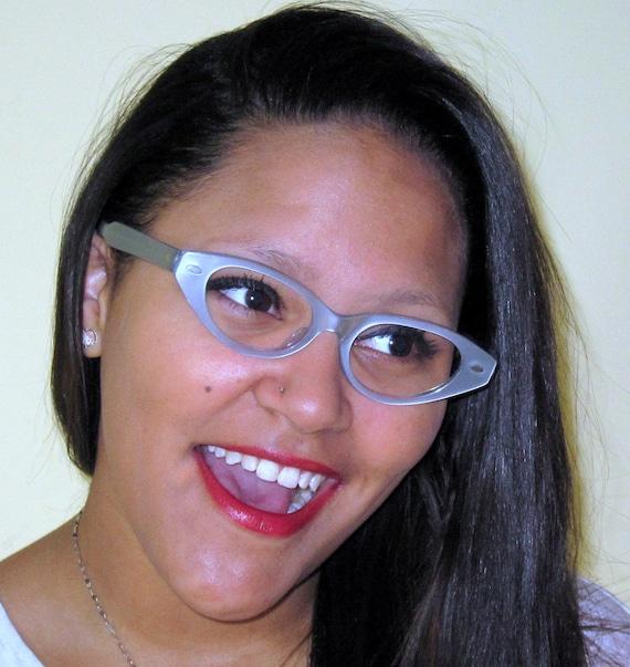 Cat Eye Glasses. Vintage Eyeglasses Pearl Blue