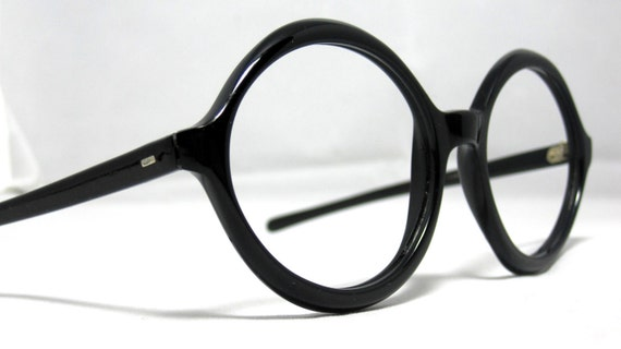 Vintage Eyeglasses 60s Large Black Oval Frames