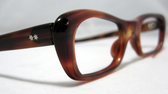 Vintage Eyeglasses Tortoise Angular Square Shape Cat Eye Glasses