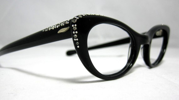 Vintage Cat Eye Glasses Frames. Black with Rhinestones by Marine Optical.