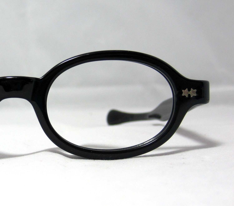 Glasses Frames For Small Oval Face : Vintage 60s Round Oval Eyeglass Frames. Black