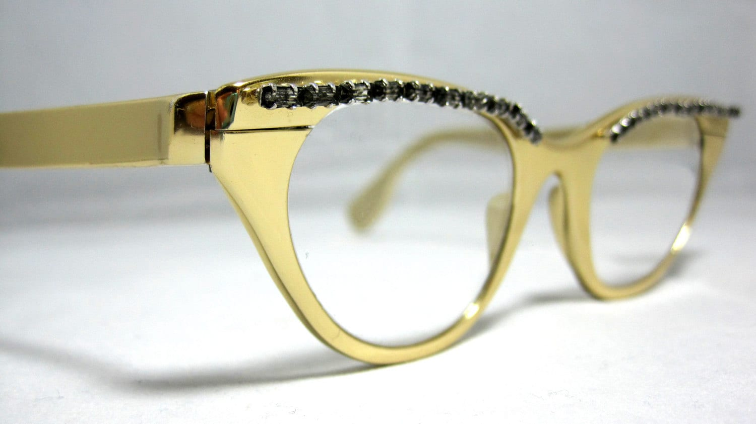 Glasses Frames In Gold : Vintage 50s Tura Eyeglass Frames. Gold with Rhinestones