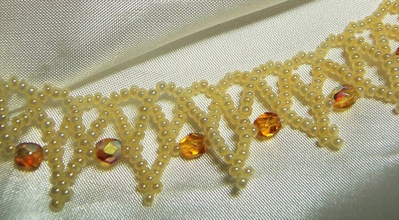 OOak Grandmother of Hearts (Amber and Cream) Hand beaded Necklace