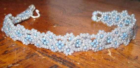 Hand Beaded Something Blue Wedding bracelet