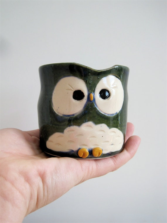 Hooter Owl Mug (Lucy) in Rainforest Blue Handmade Stoneware