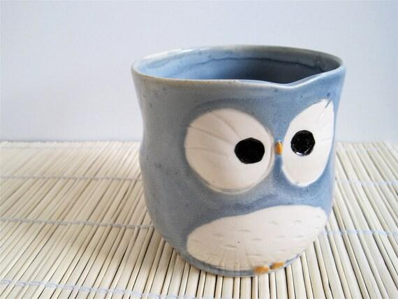Hooter Owl Mug (Bri) in Marine Layer Blue Handmade Stoneware