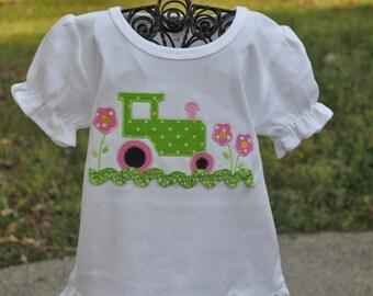 Girlie Tractor Monogrammed Shirt or Bodysuit  Short or Long Sleeves