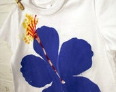 Hibiscus Kids Tee 4T - Purple Flower on White American Apparel Tee Shirt / Toddler / live2lime