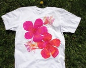 Hibiscus Adult M / Deep Pink / Orange Flower on White American Apparel Tee Shirt / live2lime