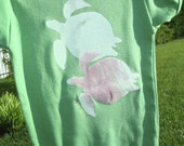 Turtle Onesie - White/Light Pink Turtle on Grass Green American Apparel Onesie / 6-12 months / live2lime
