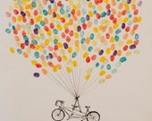 LARGE guest book fingerprint balloon tandem bike  (with 3 ink pads)