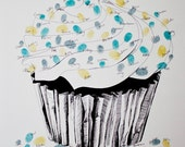 The original guest book fingerprint sprinkles cupcake, great for birthday parties (ink pads sold separately)