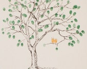 Fingerprint Tree Wedding Guest Book Alternative, Original Hand-drawn Medium Cherry Blossom Design (ink pads sold separately)