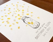 Small mason jar with fireflies, Guest book fingerprint alternative (with 1 ink pad)
