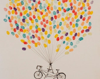 Thumbprint Balloon, Wedding Guest book Alternative,  Tandem Bike, Custom Guest Book, Engagement Gift ideas, bicycle lovers, fingerprint tree