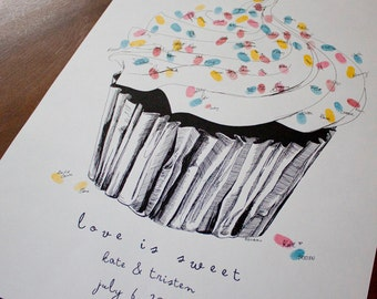 The original guest book fingerprint sprinkles cupcake, love is sweet, for weddings (ink pads sold separately)