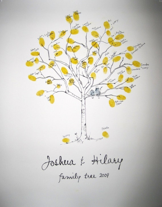 Guest book fingerprint tree, hand drawn small birch for 30-80 guests (drawing with one ink)