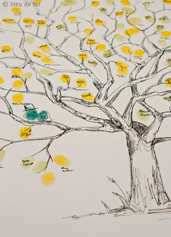 RESERVED (for signoretta) Guest book fingerprint Great Oak tree - size MEDIUM (guestbook drawing with 3 ink pads)