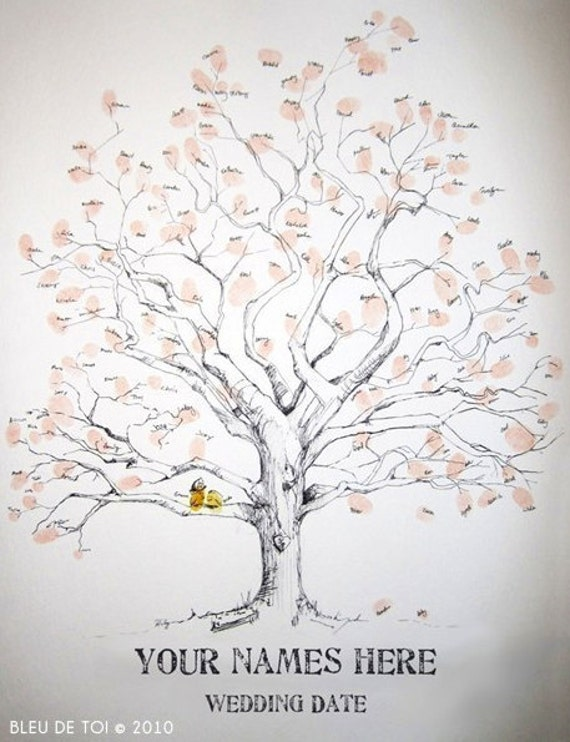 RESERVED (for neeleyo) MEDIUM guest book fingerprint tree, hand drawn design (3 ink pads)