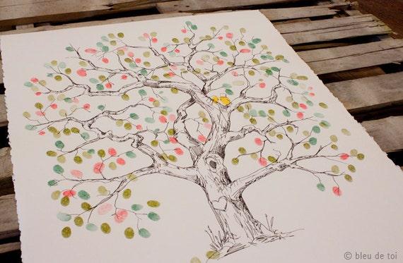 RESERVED (ellenstarrett) Guest book fingerprint tree, XLARGE elm (includes 3 ink pads)