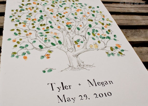 RESERVED (for Jennifer Manista) Rush Guest book fingerprint tree hand drawn- SMALL elm tree (guestbook drawing with 3 inks)