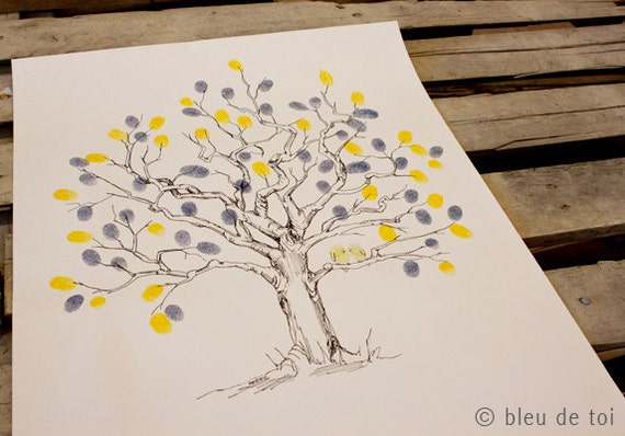 RESERVED (for ForCleverGirls) Guest book fingerprint tree, SMALL twisted oak (drawing with 4 ink pads)