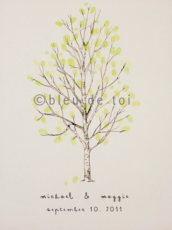 RESERVED (for ehager) Guest book fingerprint tree, MEDIUM birch (drawing with 4 ink pads)