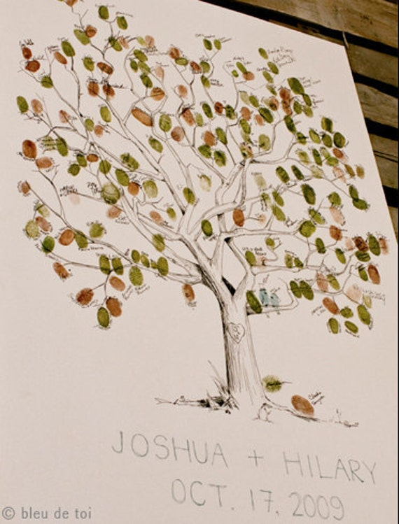 RESERVED (for angregware) Guest book fingerprint tree, Rush MEDIUM great oak (drawing with 2 ink pads)
