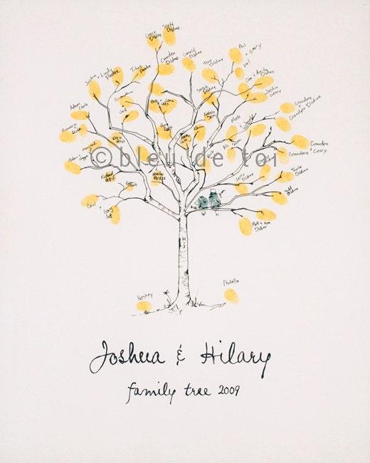 Small Fingerprint Live Oak Tree Wedding Guest Book Hand Drawn: RESERVED For Emilyehawks Guest Book Fingerprint Tree By