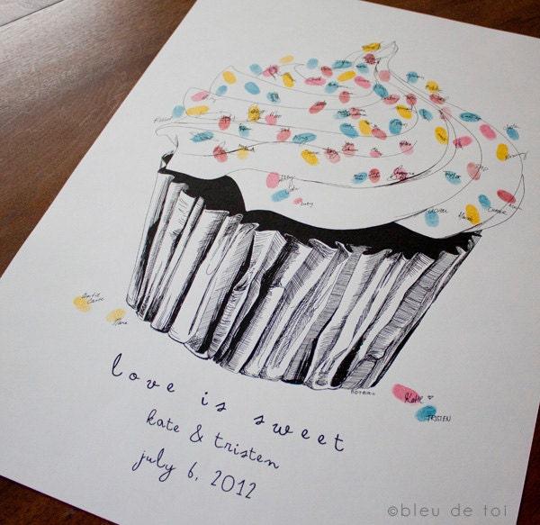 Small Fingerprint Live Oak Tree Wedding Guest Book Hand Drawn: Guest Book Fingerprint Sprinkles Cupcake MEDIUM With 3 Ink