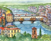 Florence Panorama  Italy art print from an original watercolor painting