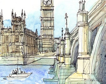 London Westminster Bridge Thames art print from an original watercolor