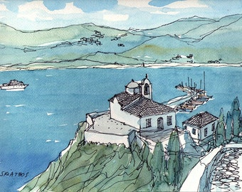 Skiathos Greece art print from an original watercolor painting