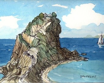 Skopelos Greece art print from an original watercolor painting