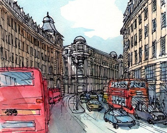 London Regent Street  view from Piccadilly Square art print from an original watercolor painting