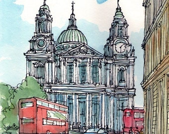 London, St Paul's Cathedral art print from an original watercolor painting