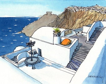 Santorini Firostefani Greece print of watercolor painting drawing, signed