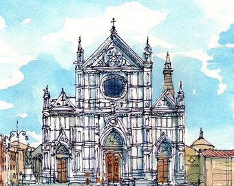 Florence Piazza Santa Croce Italy art print  from an original watercolor painting