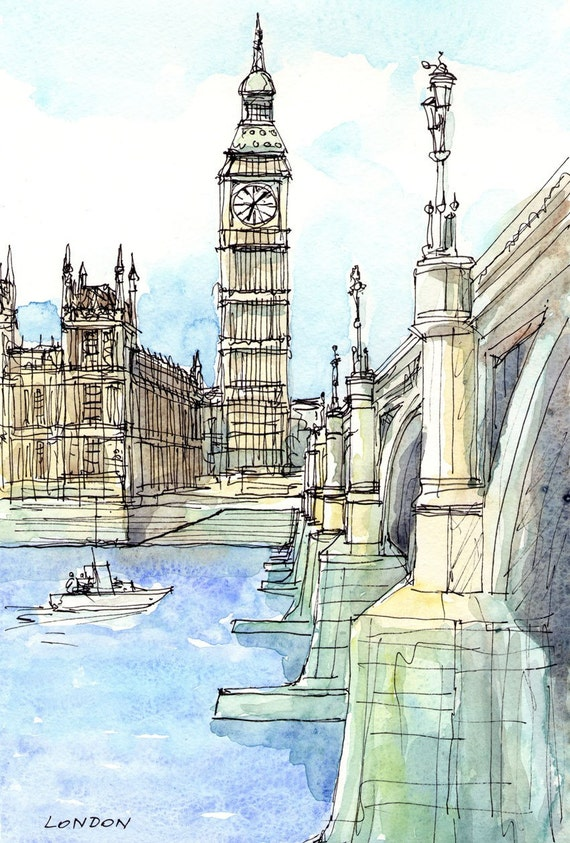 london westminster bridge thames art print from an original