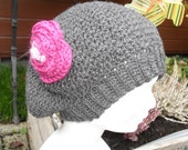 Crochet pattern : ladies beret with flower (free extra pattern for a crocheted hat in same stitch)